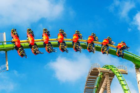 Zhuhai, Guangdong, China- NOV 9, 2017 : Tourist enjoy a fast roller coaster ride at the Zhuhai Chimelong Ocean Kingdom Park in Zhuhai, China.