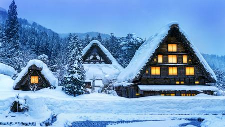 Shirakawa-go village in winter 스톡 콘텐츠