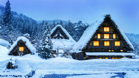 Shirakawa-go village in winter 免版税图像