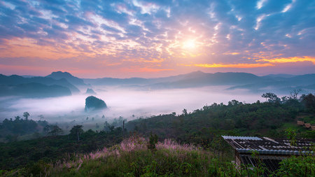 Sunrise on the morning mist at Phu Lang Ka, Phayao in Thailand.