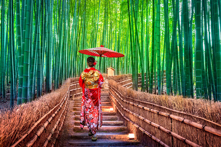 Bamboo Forest. Asian woman wearing japanese traditional kimono at Bamboo Forest in Kyoto, Japan. Stok Fotoğraf