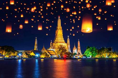 Wat Arun temple and Floating lantern in Bangkok, Thailand.