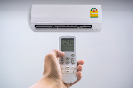 Air conditioner with remote controller.