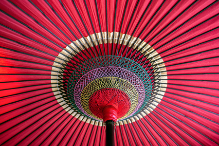Japanese traditional red umbrella. 免版税图像