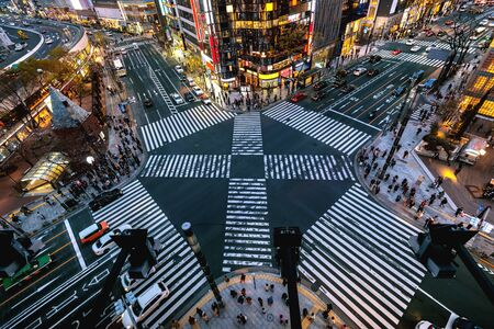 Aerial view of intersection in Ginza, Tokyo, Japan at night. 写真素材