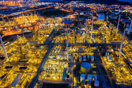 Aerial view of Oil refinery at twilight. Stock fotó - 132032716