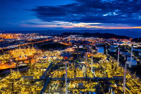 Aerial view of Oil refinery at twilight.