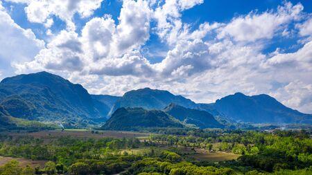 Aerial view of Doi Nang Non mountains or Thai cave Tham Luang at Chiang rai, Thailand. Stock Photo