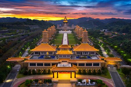 Sunset at Fo Guang Shan Buddha Temple in Kaohsiung, Taiwan.