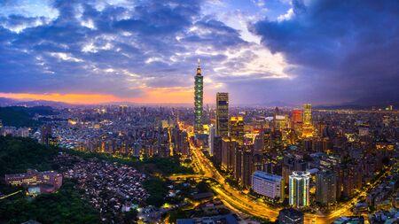 Taiwan skyline, Beautiful cityscape at sunset.