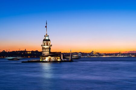 Maiden's tower at night in istanbul, Turkey.