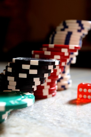 Poker Chips and dice Stock Photo - 9912841