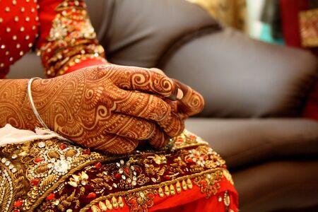 body jewelry: Traditional Indian bride, close up.