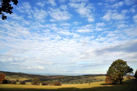 Autumn landscape with blue sky and clouds Stock Photo - 16031687