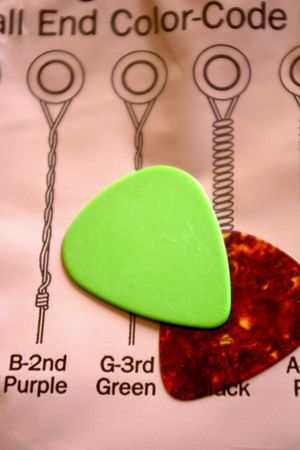guitarra dos picos, verde y marrón en una cadenas de montaje la instrucción  Foto de archivo - 823717