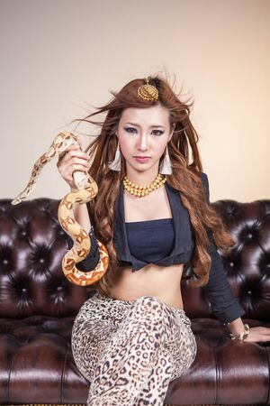 Woman with Boa Constrictor Snake  photo
