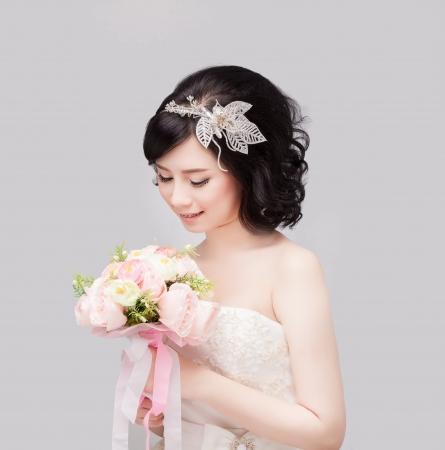 sposa make up e hair style Archivio Fotografico