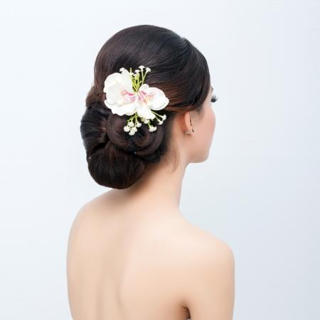 bridal hair: bridal hair style   Stock Photo