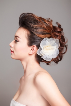 wedding hairstyle: Bridal Make up and Hair Style in studio shot  Stock Photo