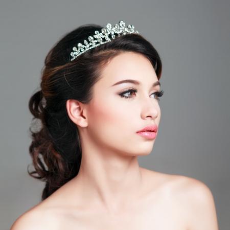 bridal hair: Bridal Make up and Hair Style in studio shot  Stock Photo