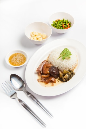 stewed pork leg with rice  , studio shot