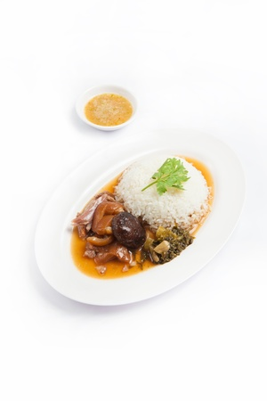 stewed pork leg with rice  , studio shot