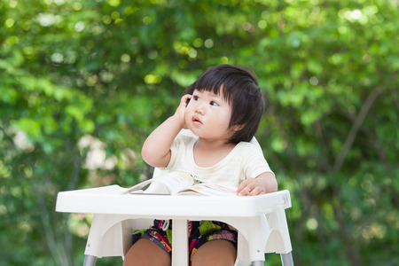 distrustful: kid have question Stock Photo