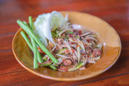 somtum: papaya salad or Somtum in Thai - selective focus