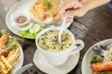 Thai Steamed Eggs on wood table Stock Photo