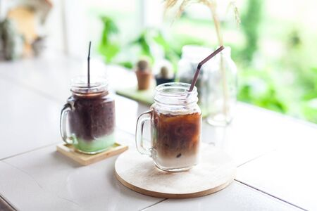 Ice coffee in a glass