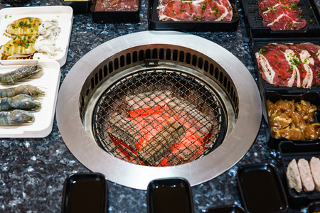 Different meat and beef for Bar B Que buffet grill in buffet restaurant