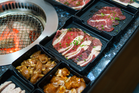 Different foods cooked on the grill - Bar B Que buffet