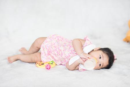 6 months baby girl milk eating bottle