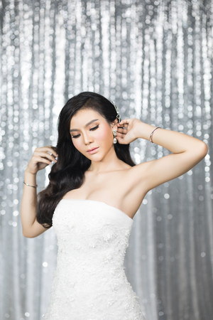 bride look , wedding make up and bridal hairstyle for bride Stock Photo