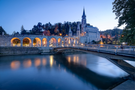 france: Sanctuary of Our Lady of Lourdes in France Stock Photo