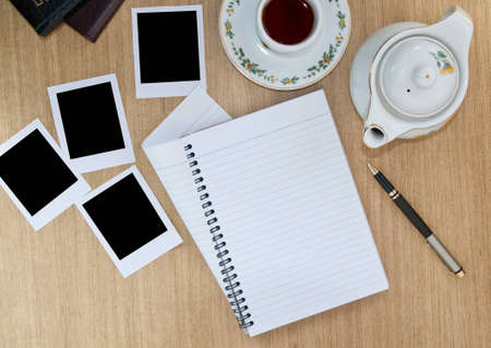 horizontals: Spiral notebook on Coffee table