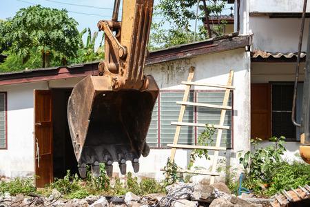 bucket Excavator. excavator destruction in Work outdoor  construction : select focus front bucket Excavator :