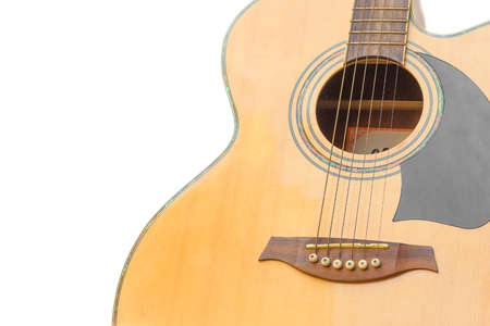 fa: Acoustic guitar body music instrument on white background,front Acoustic guitar.