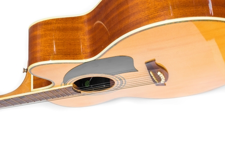 Top view Acoustic guitar body music instrument,  on white background. Stock Photo