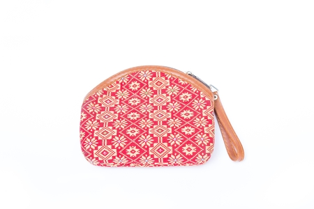 Fabric Handbags ,Bag for cosmetics with a floral pattern Wildflowers - isolated on white background