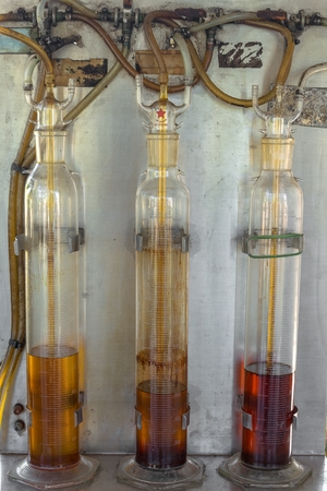 Oil palm derived biodiesel in glass test tubes and BIOFUEL word.