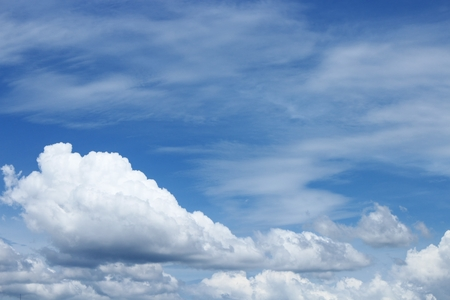 blue sky  with white cloud and raincloud. Bright blue sky and motion Soft cloud white  : image clouds look Imagination idea : you may be used as background :