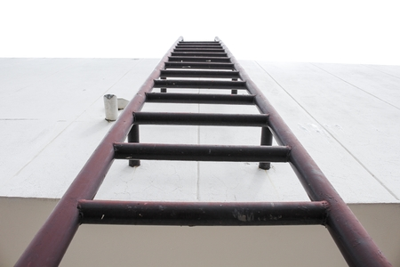 Superbe Old Vertical Industrial Metal Rusted Ladder. Staircase To Water Tank No  Safety Rails. On
