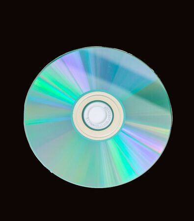 compact disc CD or DVD for the computer on black background . Stock Photo