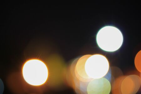 Abstract night light bokeh, Blur blurred River with reflex in water Colorful, beautiful. defocused background.