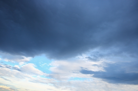 blue sky and formation raincloud dark motion have shape, beautiful colourful in evening nature for background