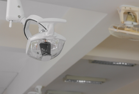 infirmary: lamp have leg in dental clinic. Interior of dentist office. Health care and medicine.