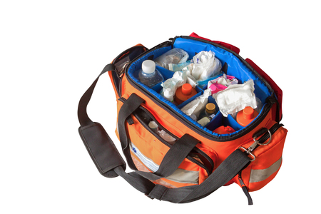 First aid kit with Bag and medicines, assist patient in emergency rescue situations.(select focus front Bag)