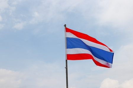 flagstaff: Thai flag, waving in the wind with beautiful with blue sky background.