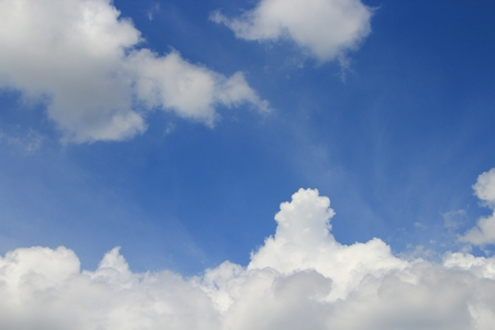 blue sky and big cloud with covered raincloud beautiful in nature background